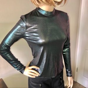 Marciano Oil Slick Metallic Long Sleeve Top